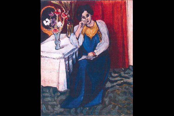 """Femme lisant en blanc et jaune"" Henri Matisse (source: Interpol)"