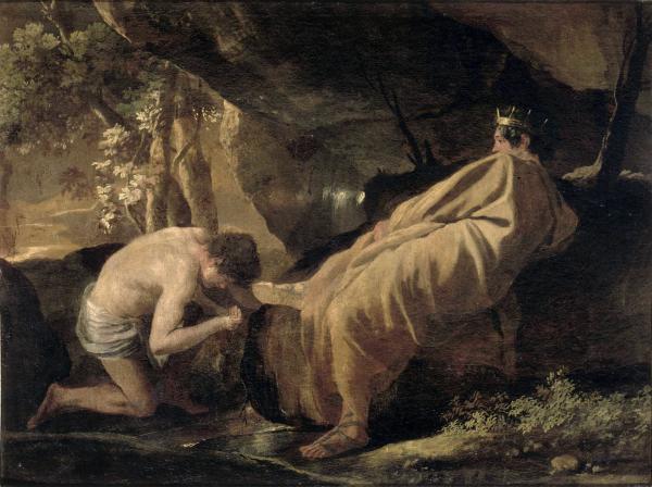 """""""Le roi Midas à la source du fleuve Pactole"""" Nicolas Poussin (source: Musée Fesh)"""