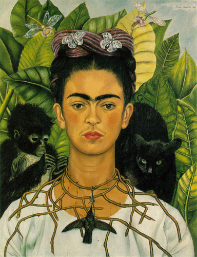 Un autoportrait de Frida Kahlo (source: wikipedia)